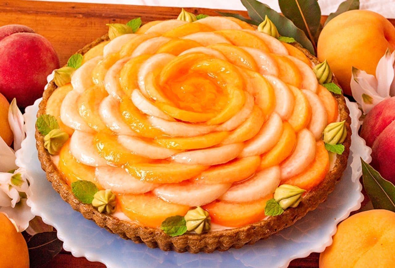 キル フェ ボン「2色の桃とはちみつヨーグルトムースのタルト」