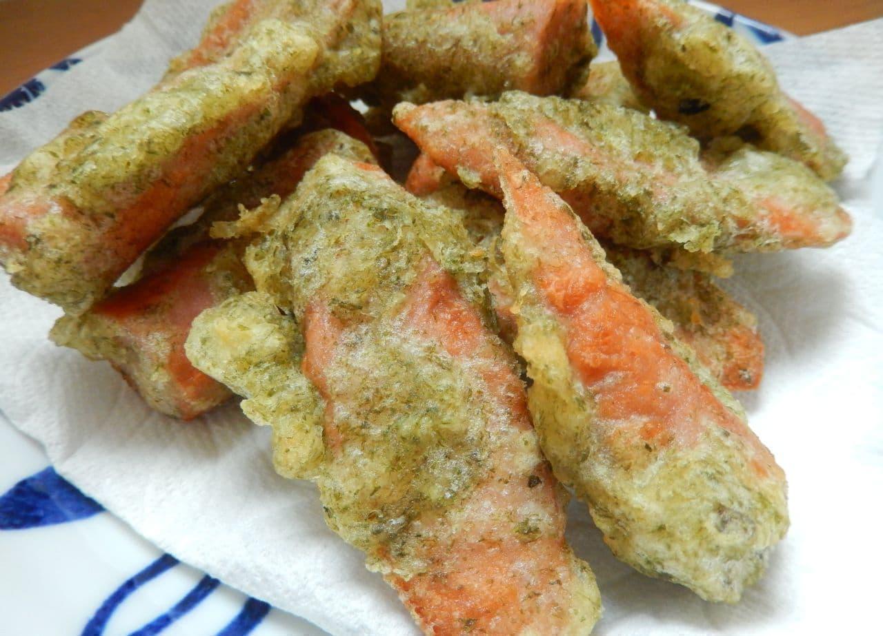絶品おつまみレシピ「魚肉ソーセージの磯辺揚げ」