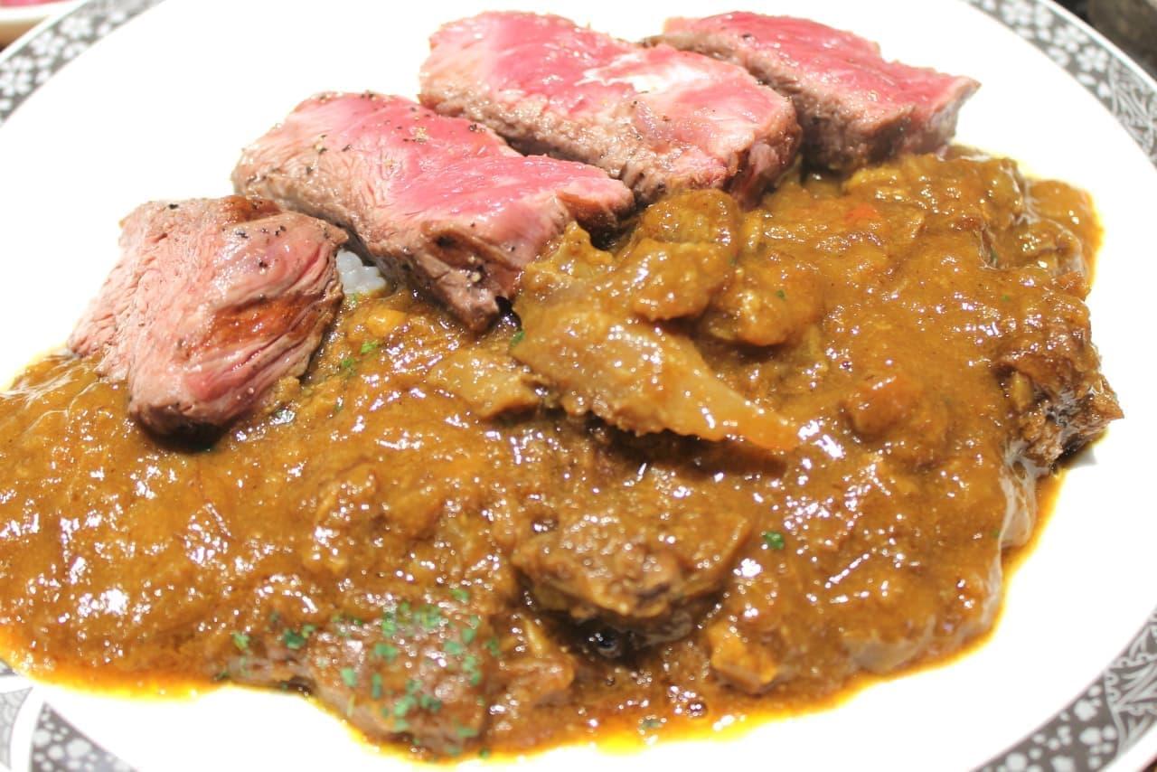 ステーキ屋松「牛スジ煮込みカレー ステーキセット」