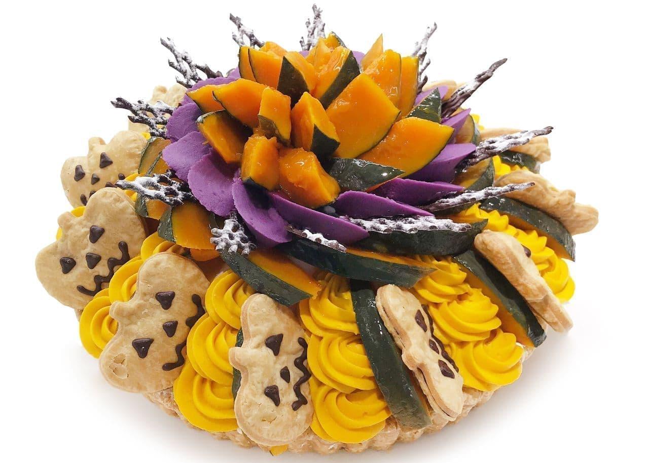 カフェコムサ「ジャックオーランタン~かぼちゃと紫芋クリームケーキ~ 」