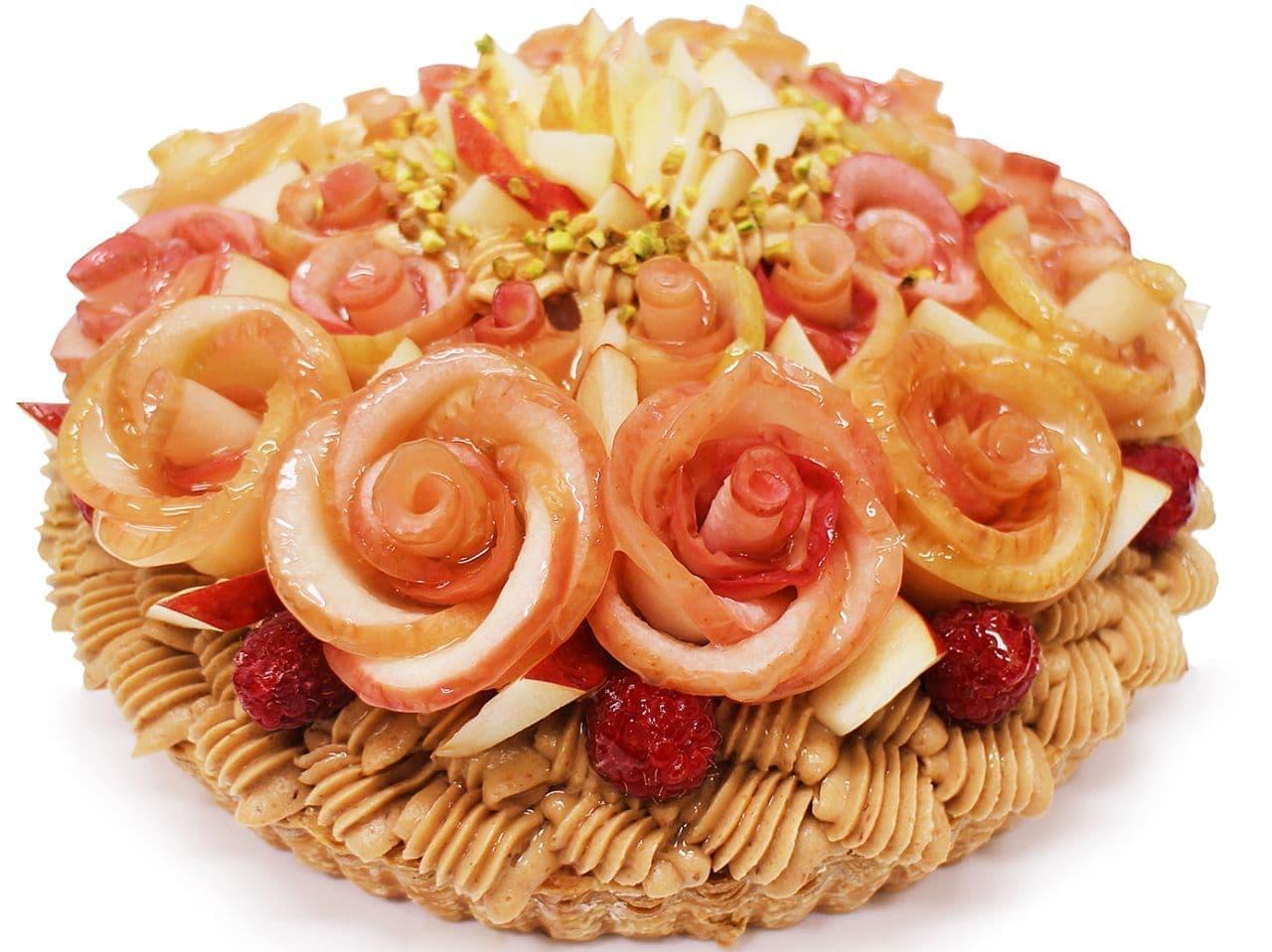 カフェコムサ「青森県産「紅玉(こうぎょく)」りんご アップルローズのキャラメルモンブラン」
