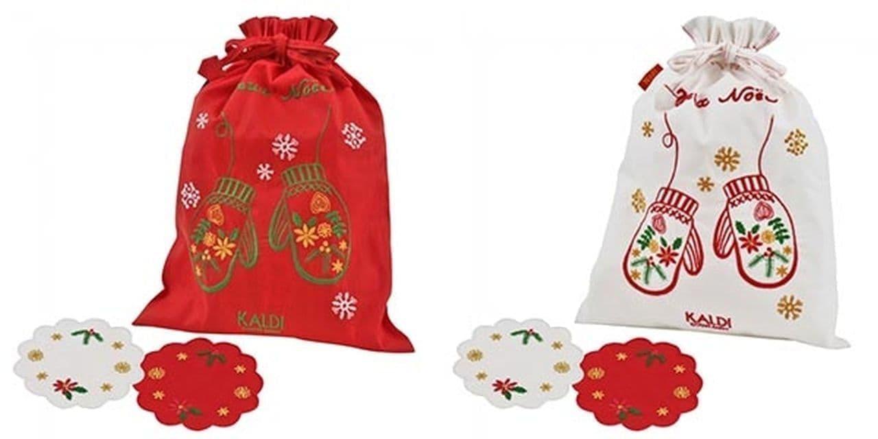 カルディ「オリジナル クリスマス刺繍ノエルバッグ(赤)(白)」