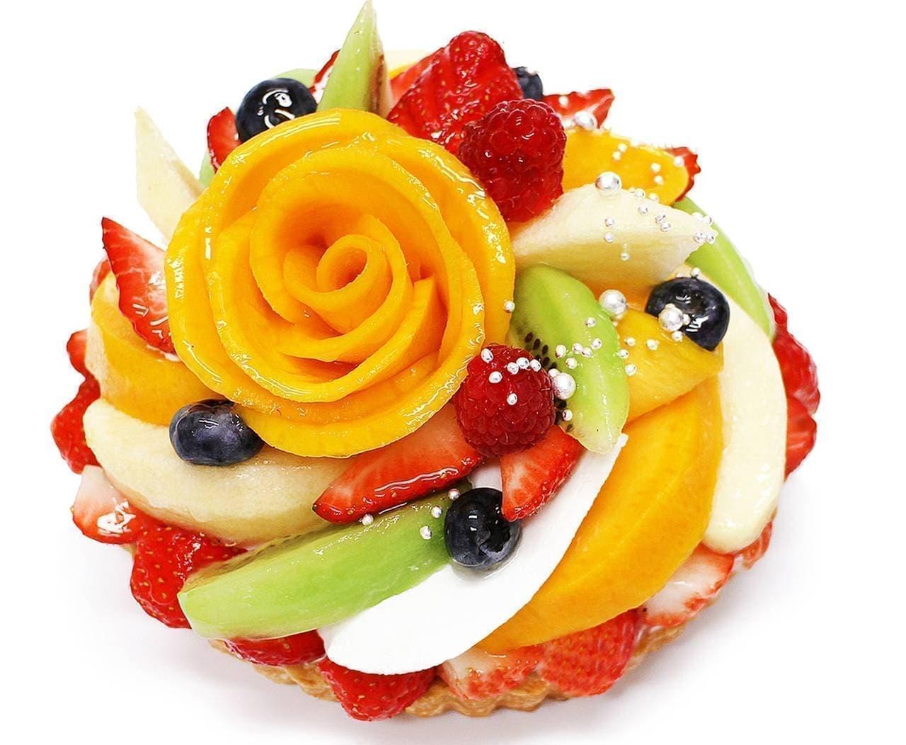 カフェコムサ「マンゴーローズと彩りフルーツのケーキ」