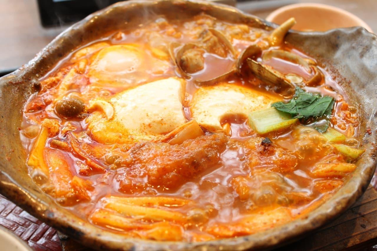 大戸屋「すけそう鱈とあさりのコク辛チゲ鍋定食」
