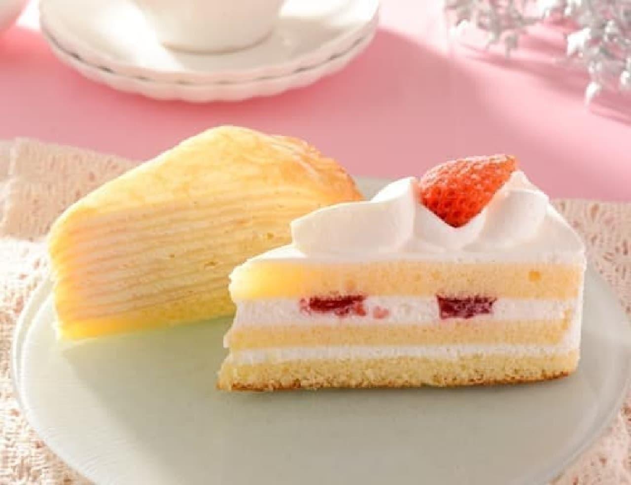 ローソン「苺のショートケーキ&ミルクレープ」