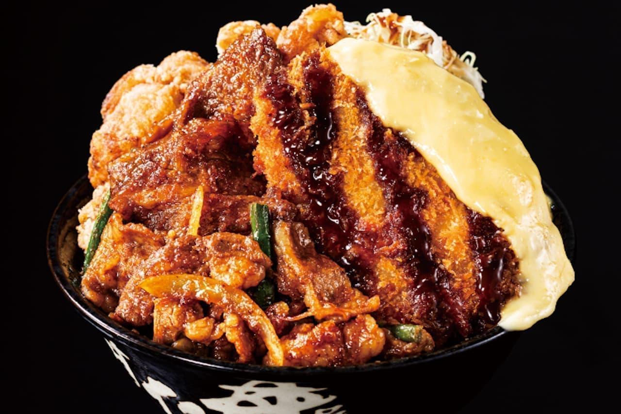 牛焼肉丼・カツ丼・唐揚丼が合体!「トリプルすたみな爆肉丼」