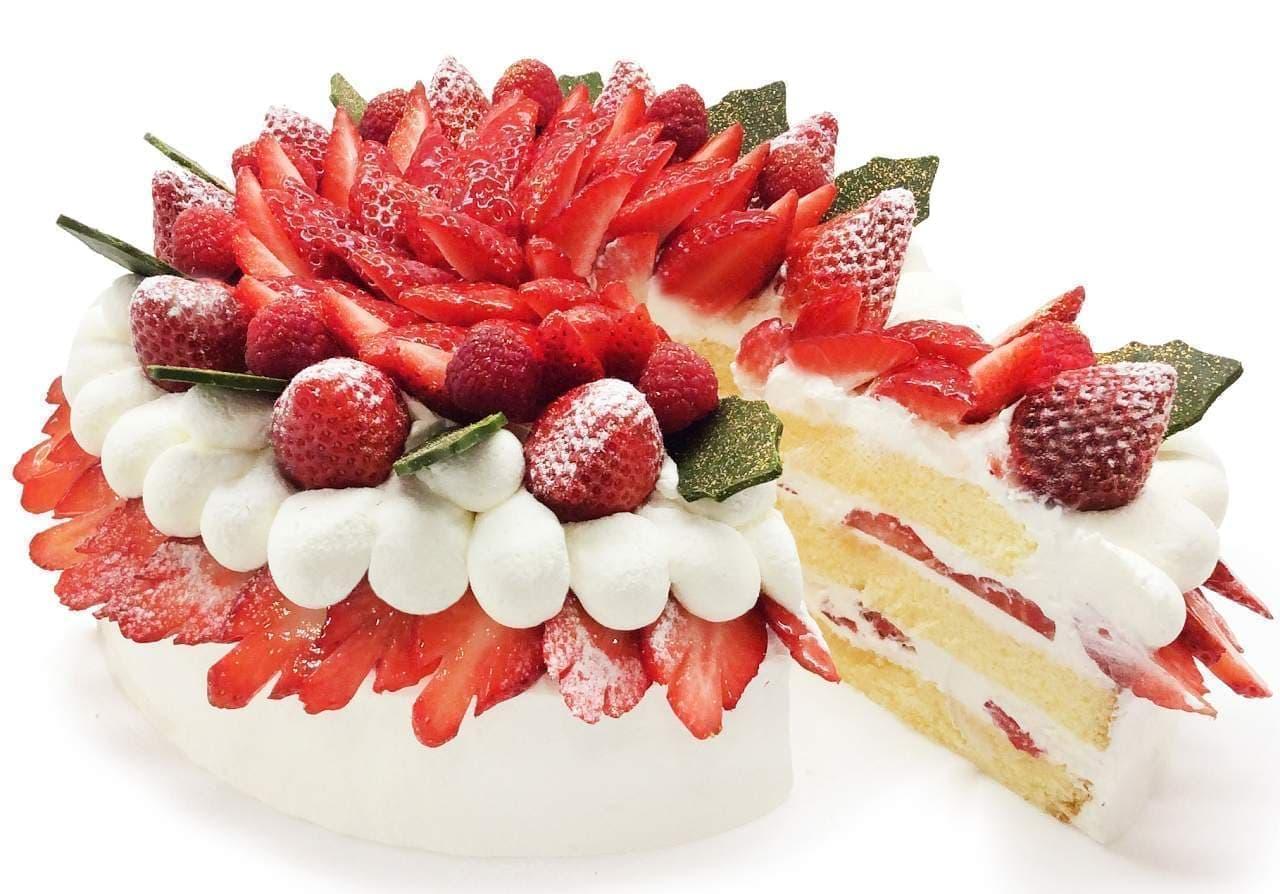 カフェコムサ「いちごのクリスマスショートケーキ」