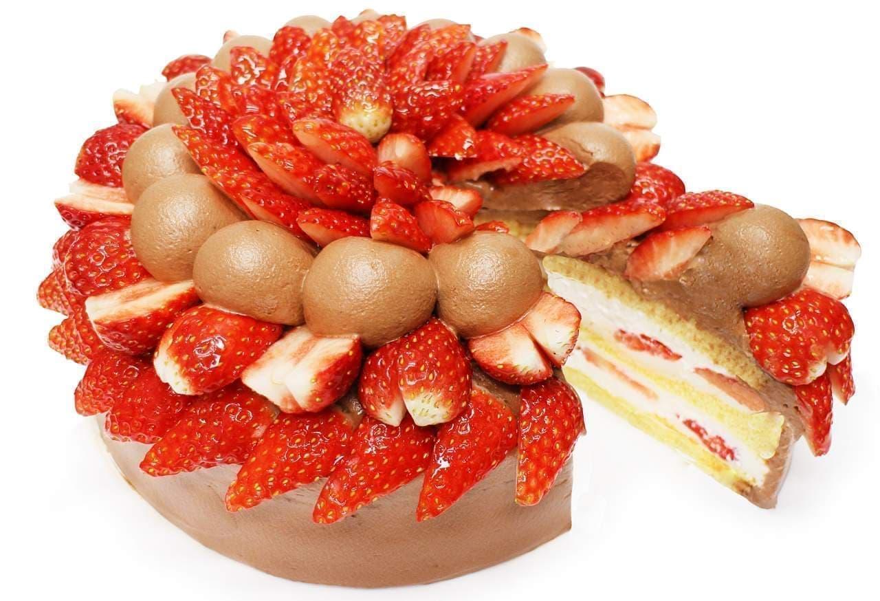 カフェコムサ「いちごとダークチョコクリームのショートケーキ」