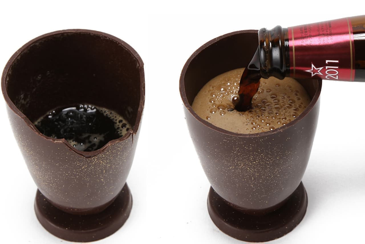 バリバリかじれるチョコ製「ビールグラス」