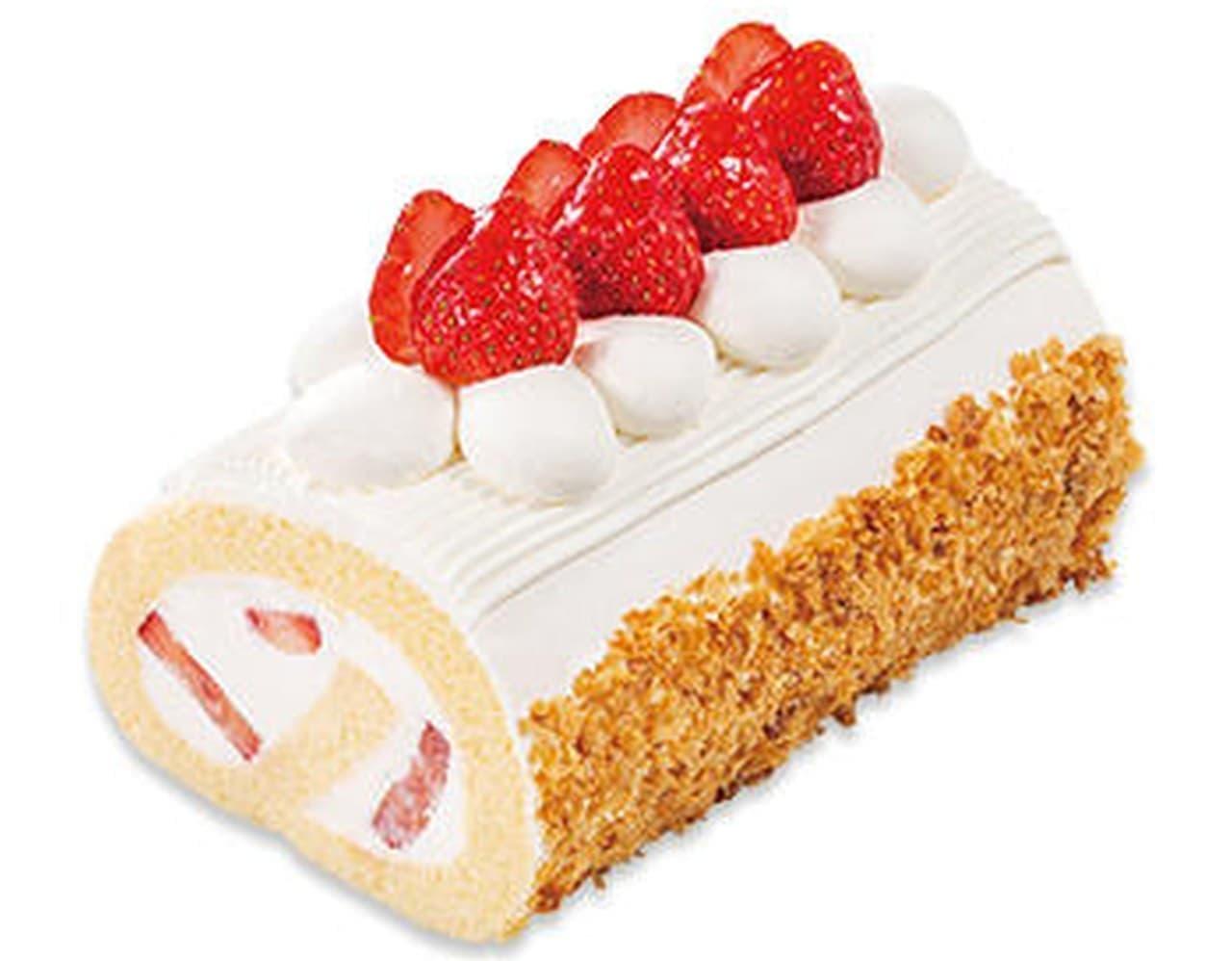 不二家「国産苺のロールケーキ」