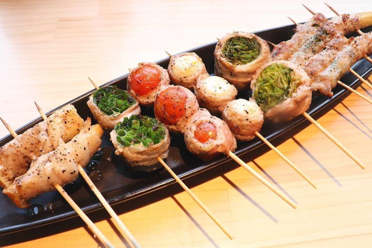 新宿 やきとり 餃子 はるかとかなた「野菜巻き串」