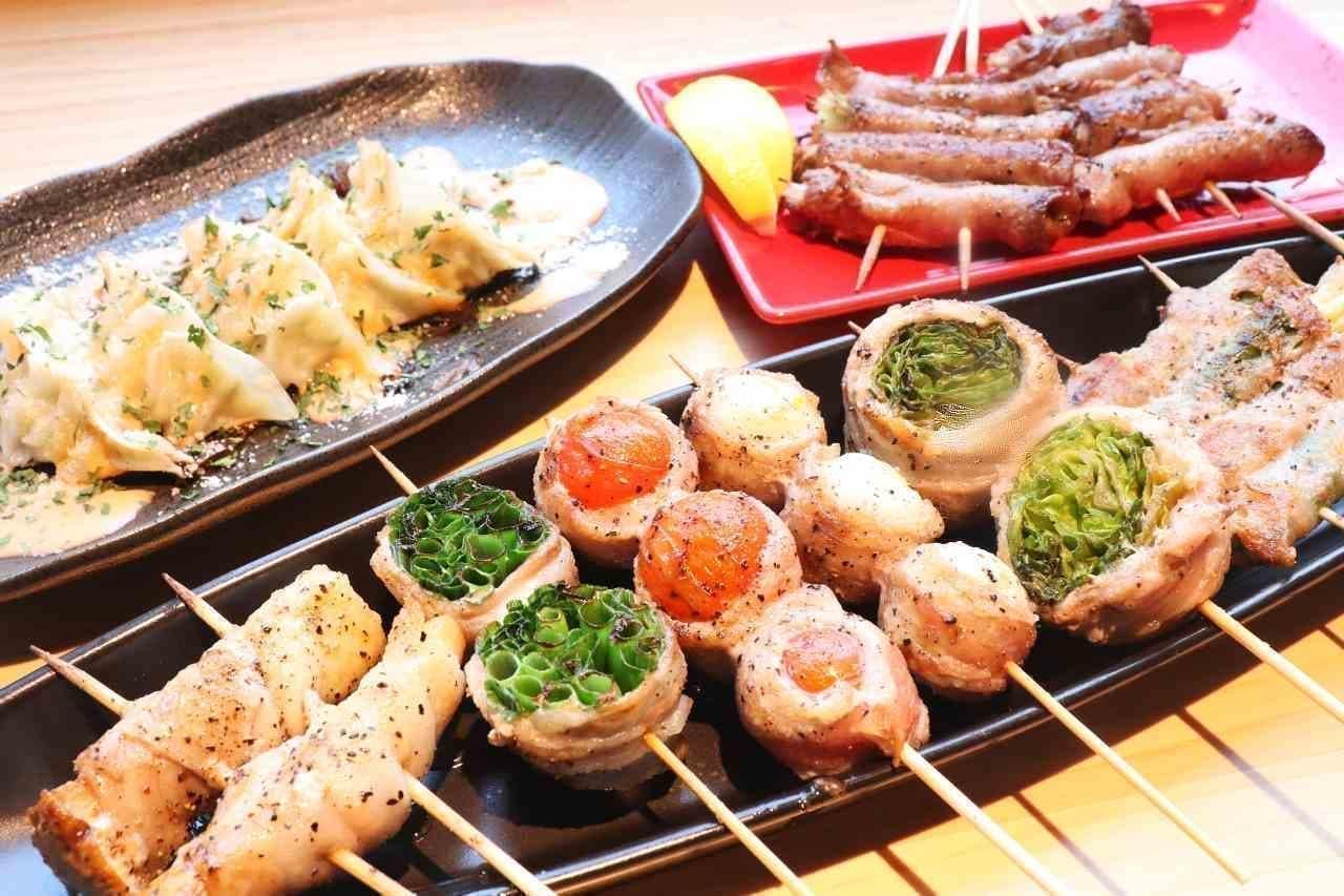新宿 やきとり 餃子 はるかとかなた「はるかな餃子」「野菜巻き串」「牛タンネギ塩巻き串」