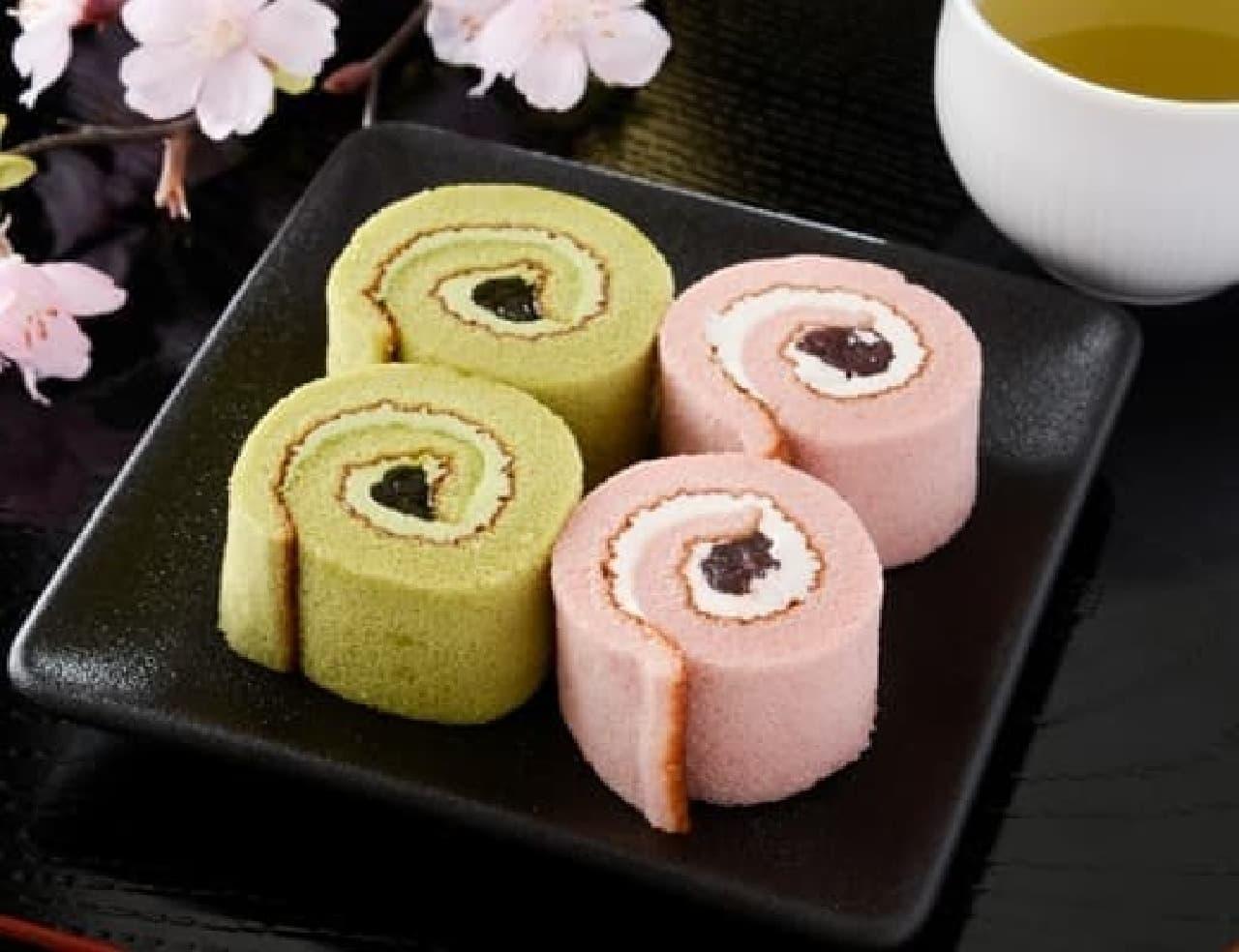 ローソン「桜と抹茶のロールケーキ」