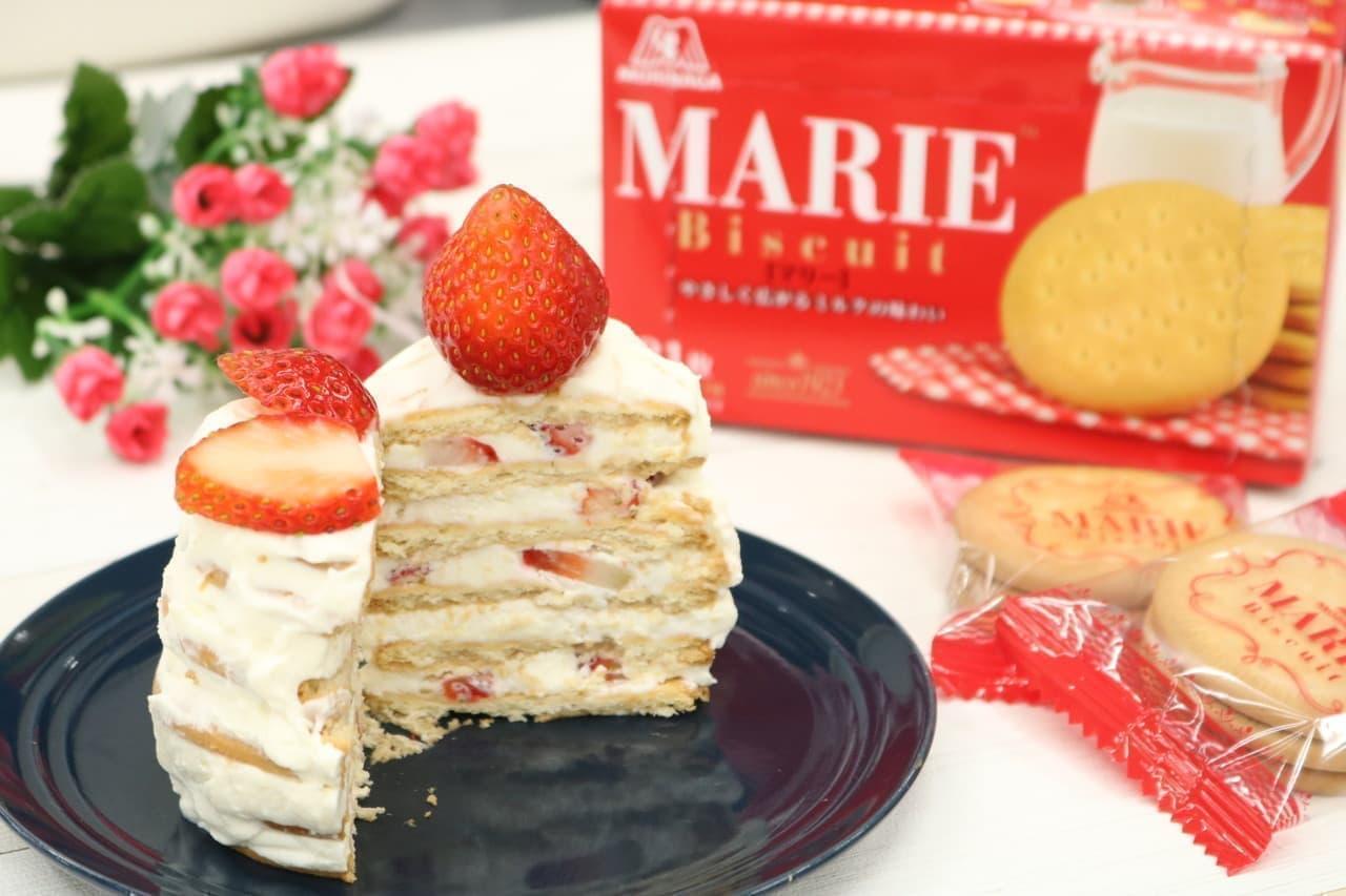 マリービスケットでショートケーキ