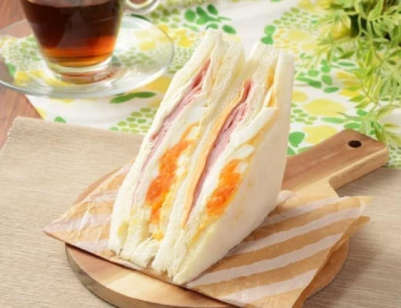 ローソン「ハムチーズたまごサンド(増量)」