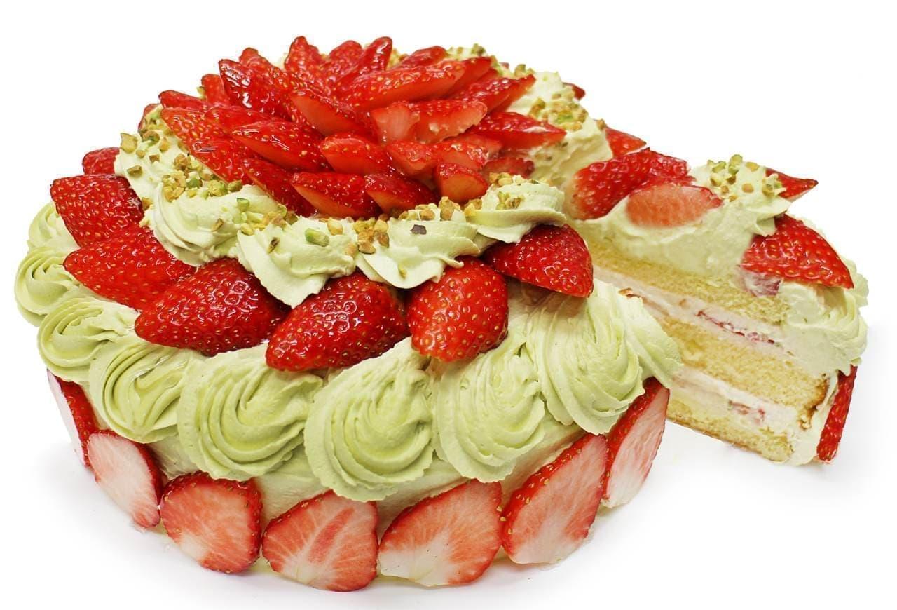 カフェコムサ「おすすめいちご」とピスタチオクリームのショートケーキ