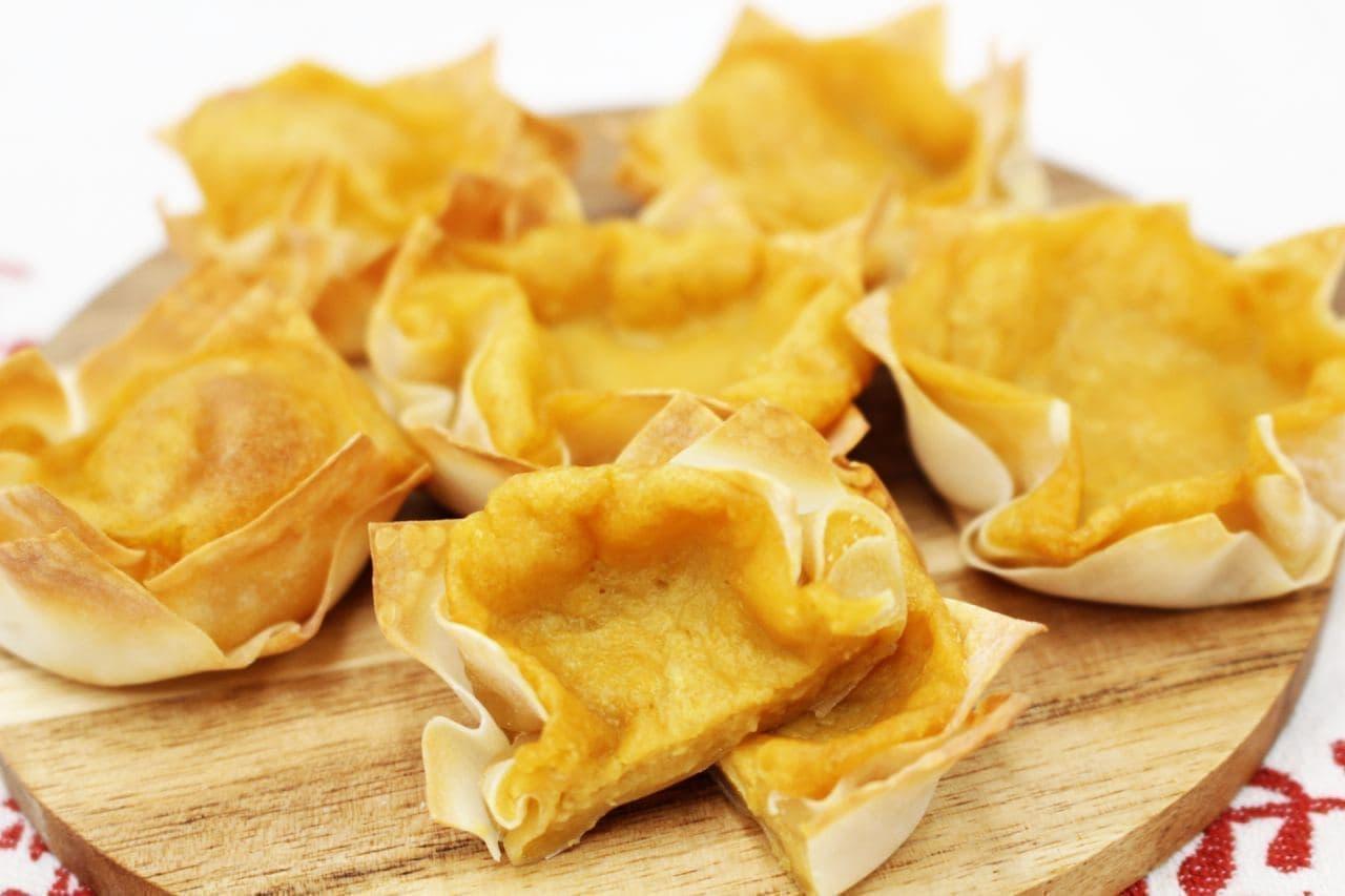 餃子、焼売の皮でアレンジレシピ「プリンタルト」