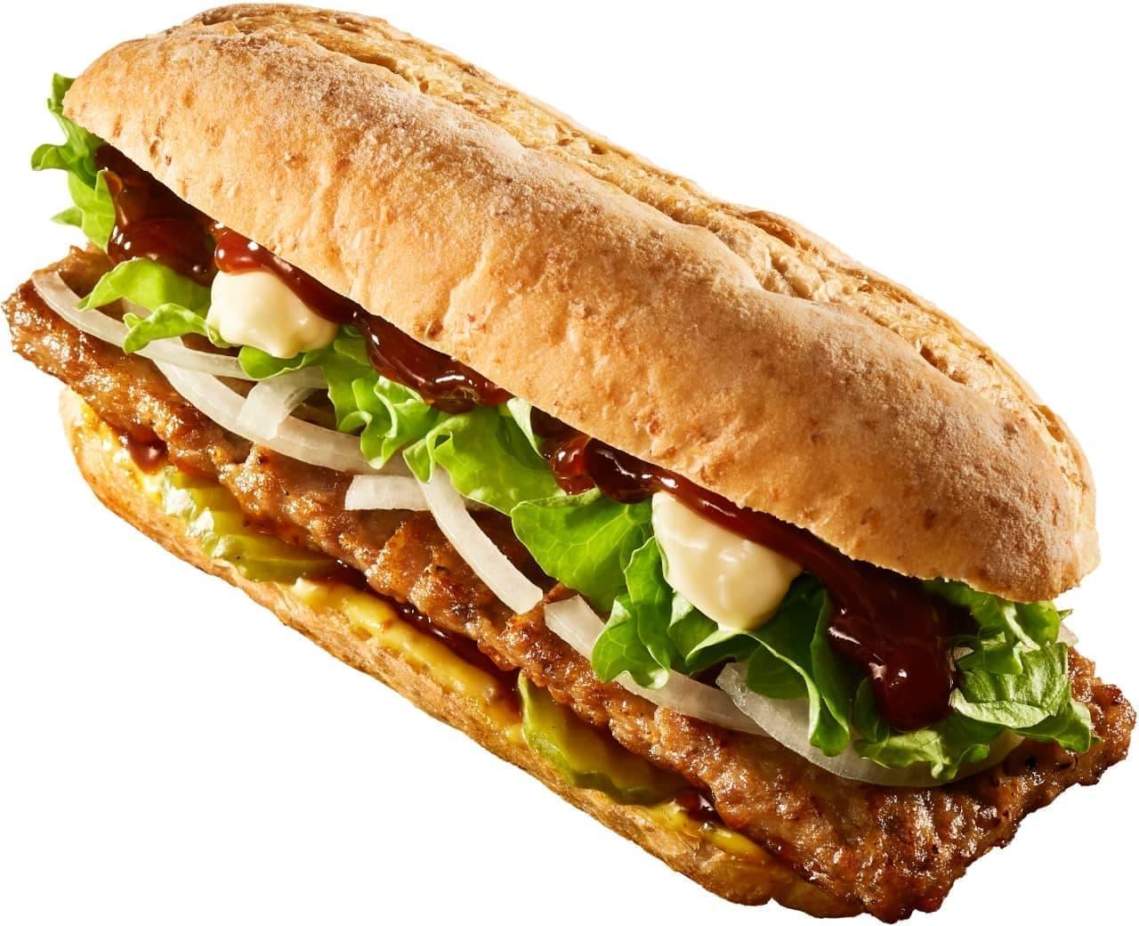 ロッテリア、がっつり豚肉が楽しめる「リブサンド ポーク」