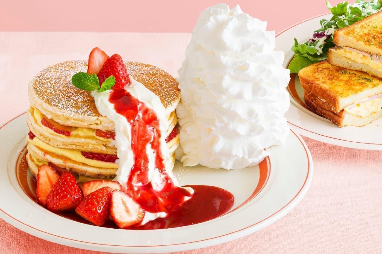 エッグスンシングス、春の訪れ告げる「いちごのミルフィーユパンケーキ」「フレンチトーストサンド」