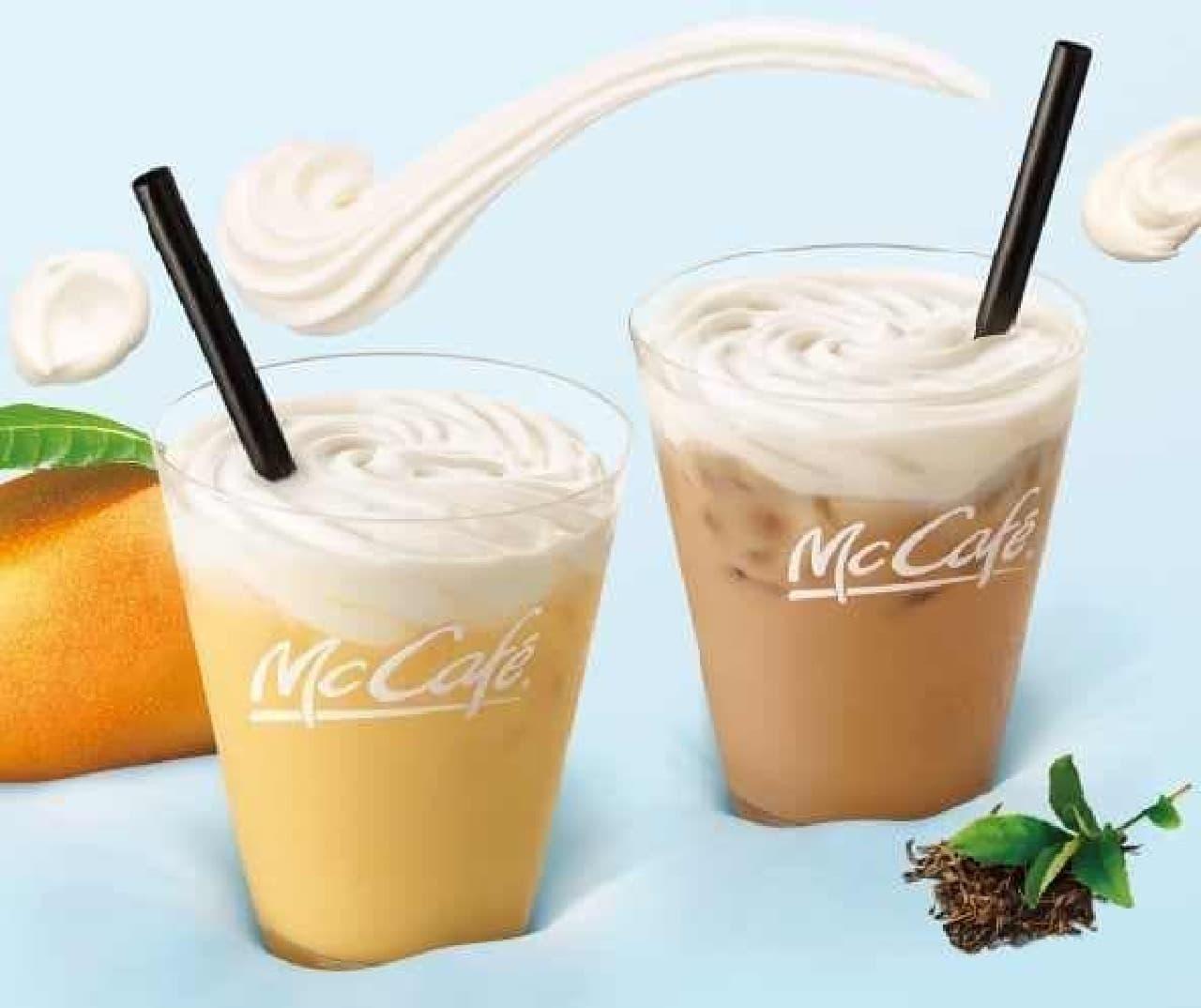 マックカフェ「マスカルポーネ入り ふわふわムースミルクティー」「マスカルポーネ入り ふわふわムースマンゴーミルク」
