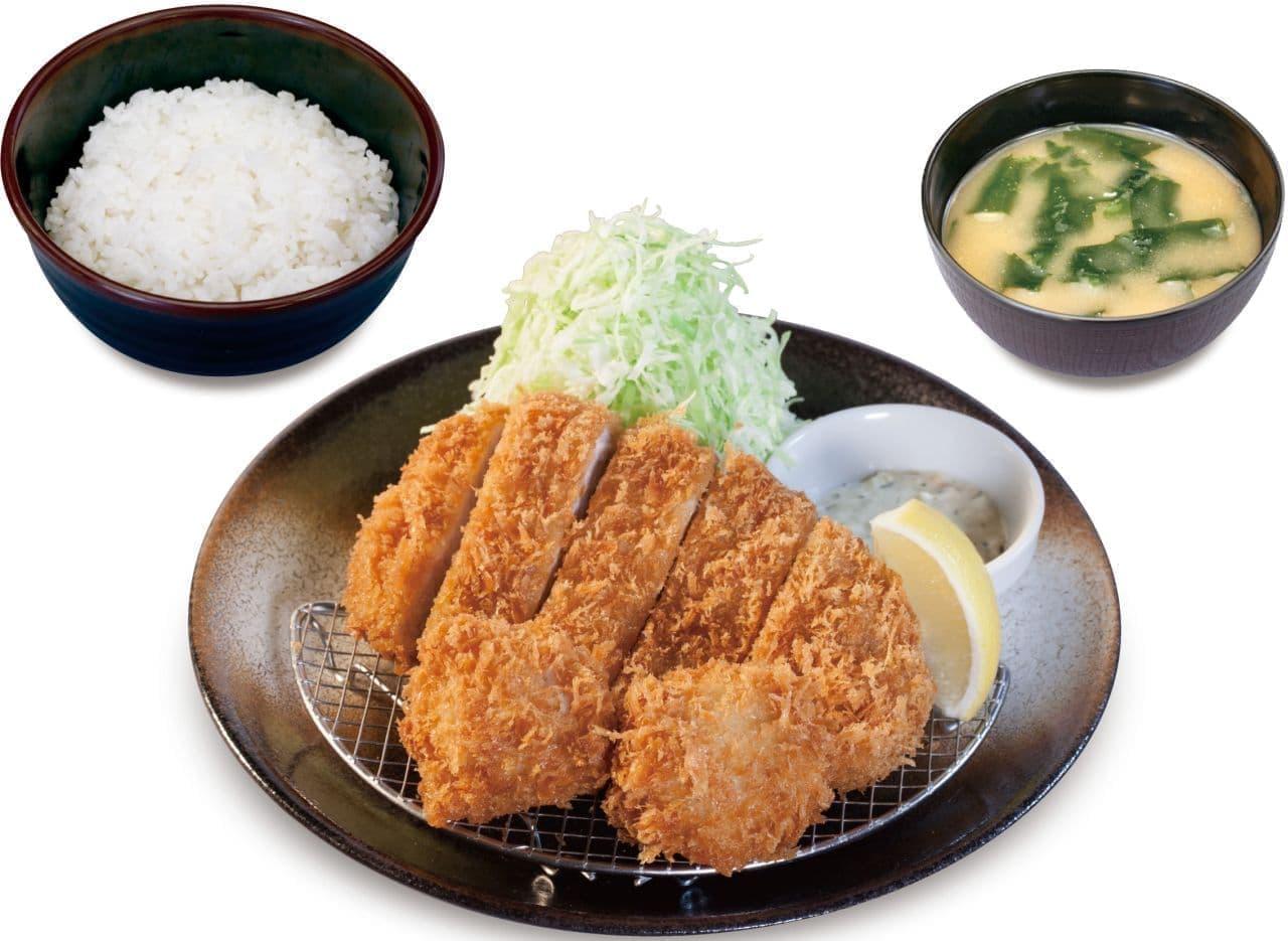 松のや「ロースかつ&ホタテフライ定食」
