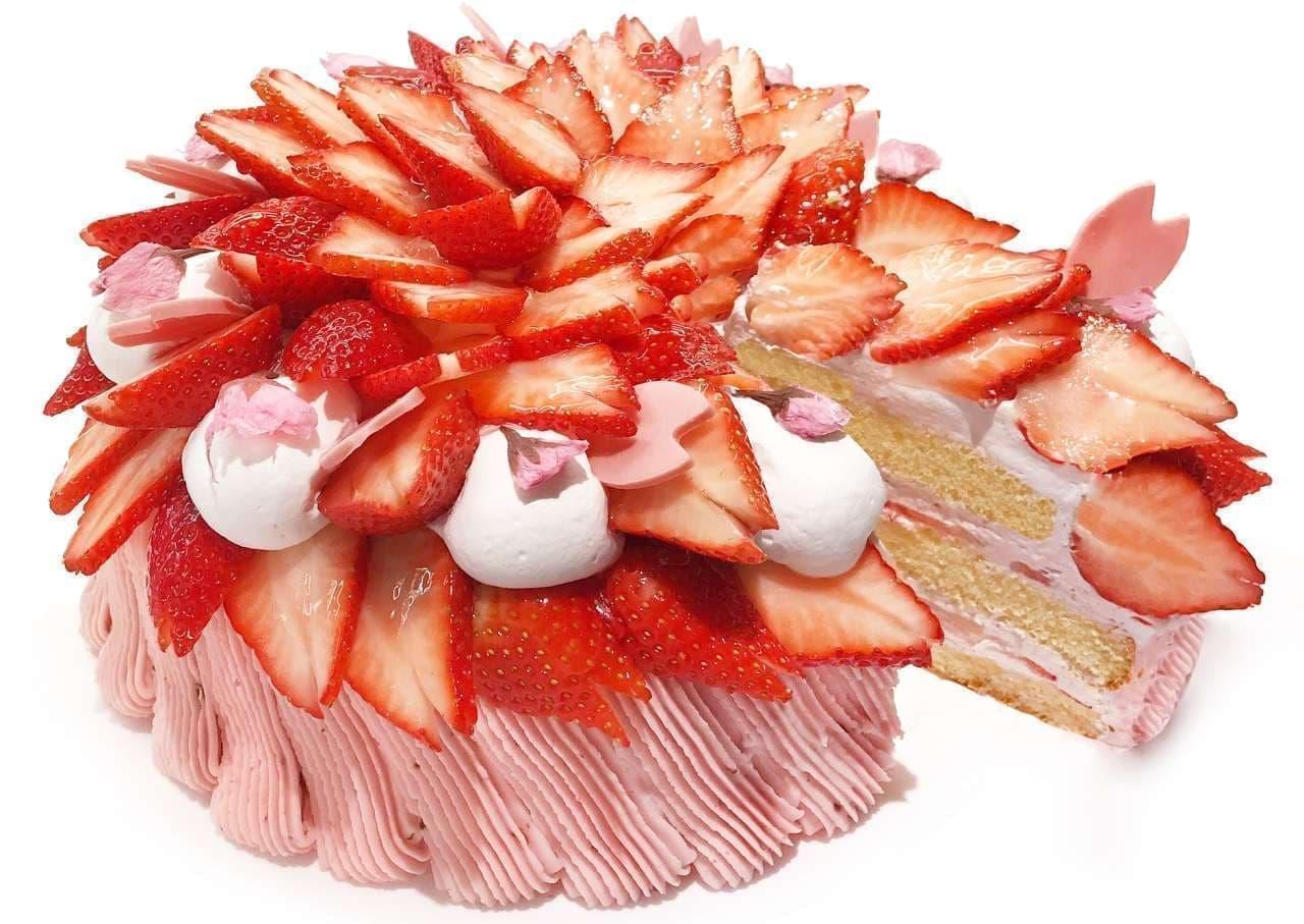 カフェコムサ「満開~いちごと桜のショートケーキ~」