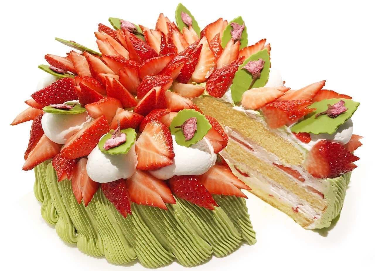 カフェコムサ「葉桜~いちごと抹茶クリームのショートケーキ~」