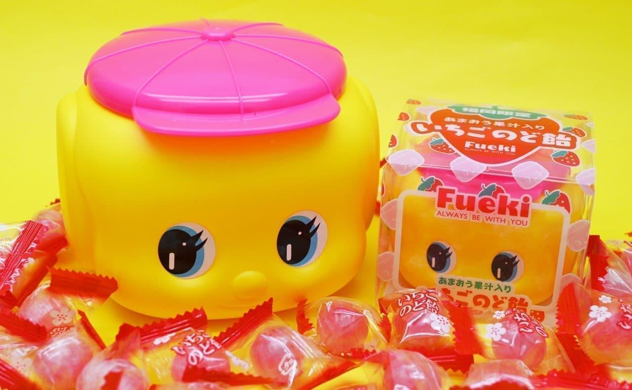 福岡限定ピンク帽子のフエキくん「あまおう果汁入りいちごのど飴」など