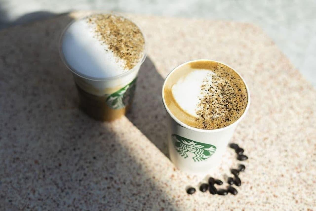スターバックス コーヒー「ダブルショット カラメル ラテ」と「アイス ムース カラメル ラテ」