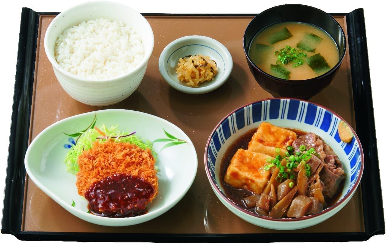 やよい軒に「肉豆腐と焼魚の定食」「肉豆腐とメンチカツの定食」