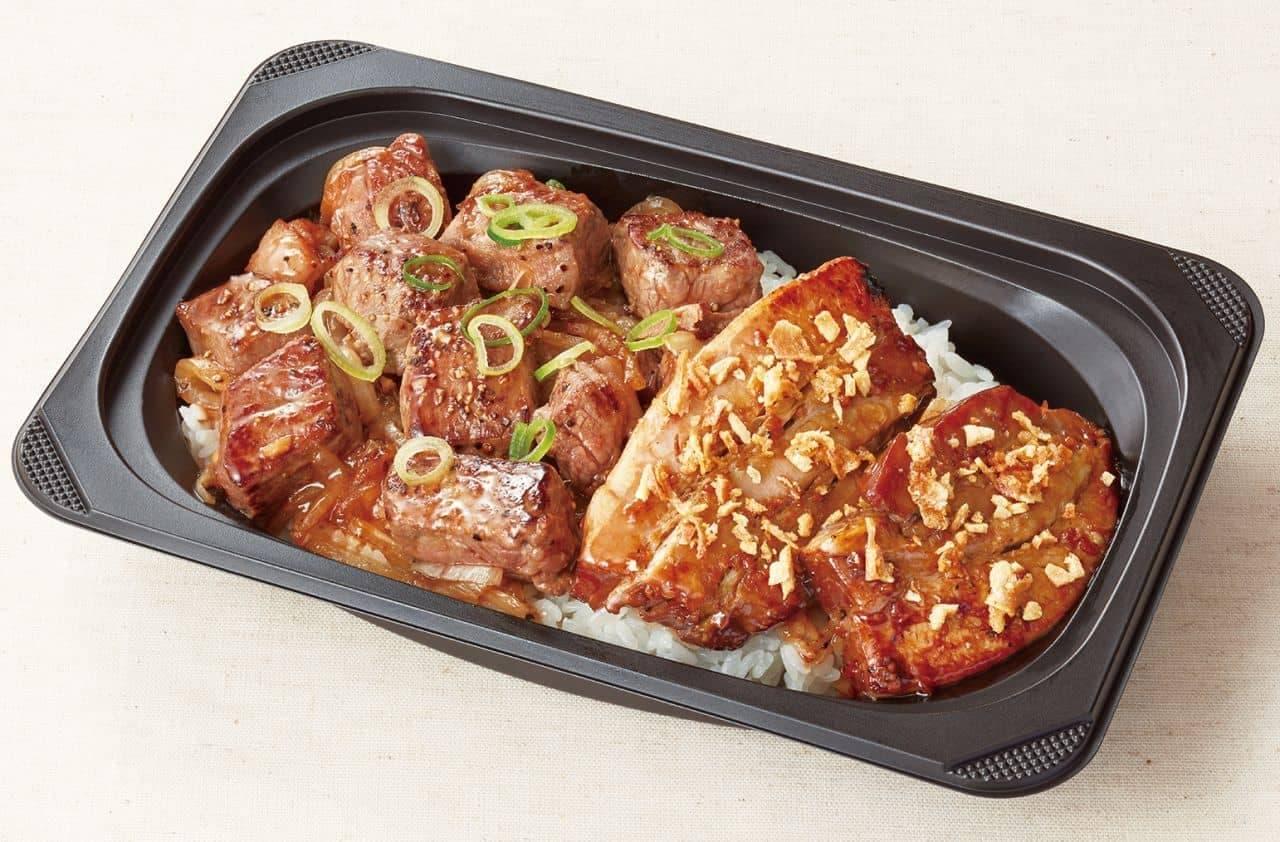 ココス「ポークソテー(にんにく醤油)&カットステーキ丼」