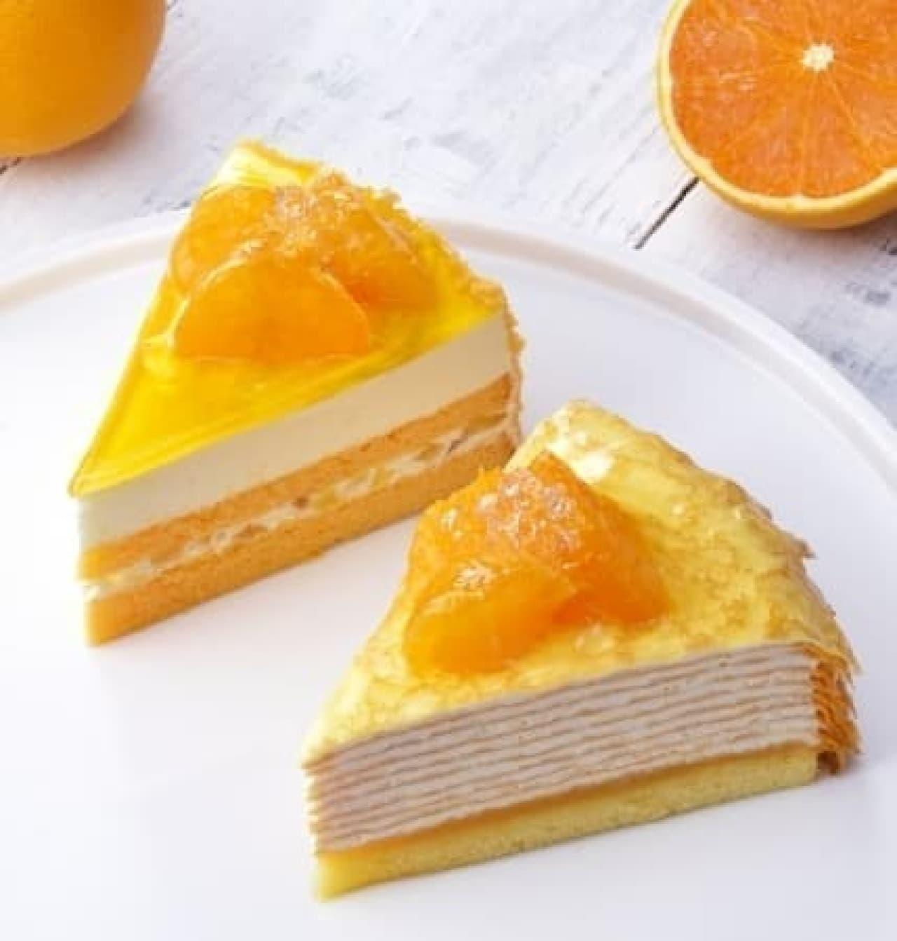 銀座コージーコーナー「清見オレンジのレアチーズ」と「清見オレンジのミルクレープ」