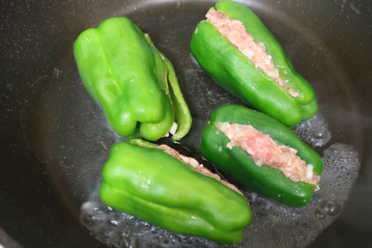 レシピ「切らないピーマンの肉詰め」
