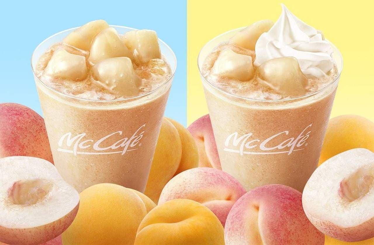 マックカフェ バイ バリスタ「ゴロゴロ もものスムージー」と「ふわふわ もものクリーミーフラッペ」