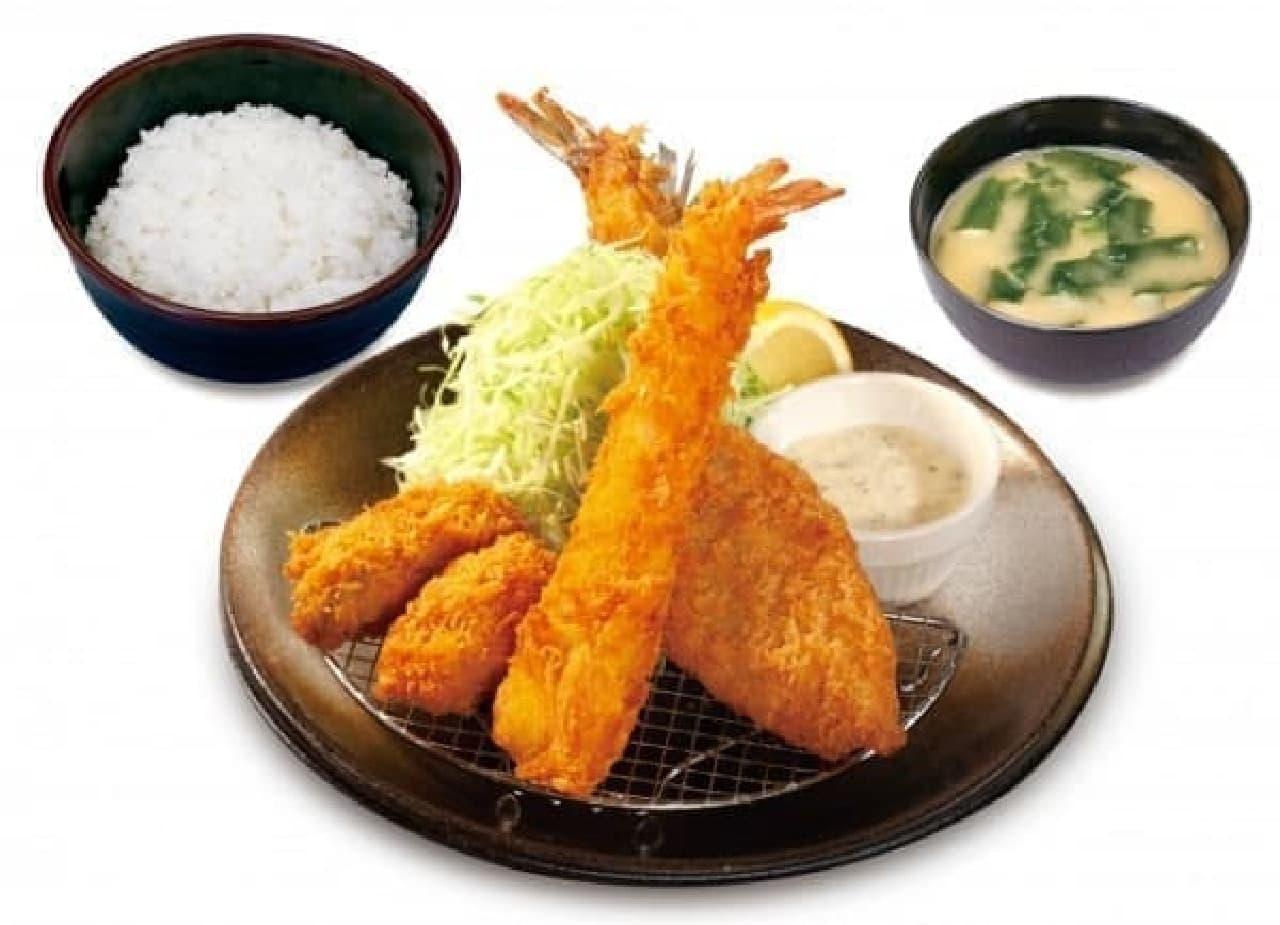 松のや「海鮮3種盛定食」