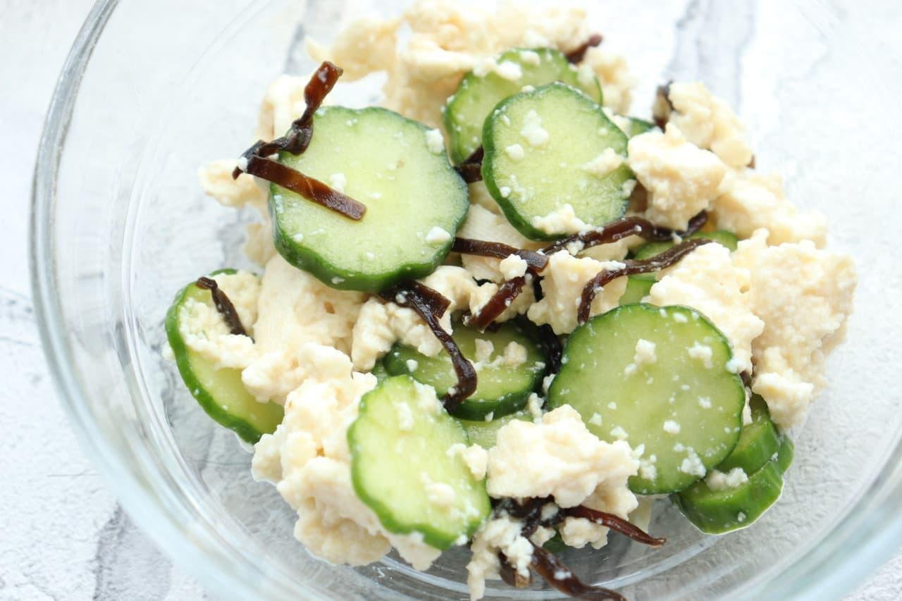 きゅうりと豆腐の塩昆布和え