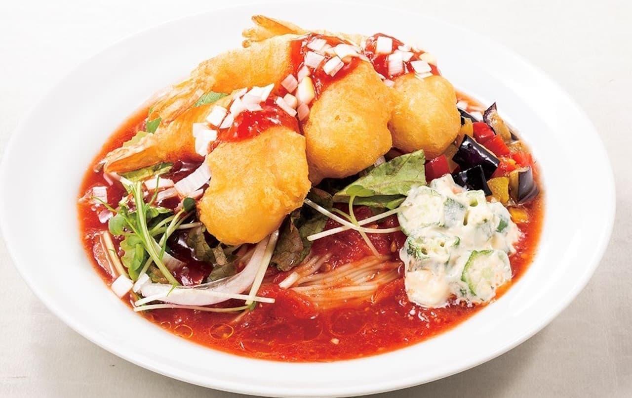 太陽のトマト麺「サクサク海老フリッターのチリトマ冷麺」期間限定で