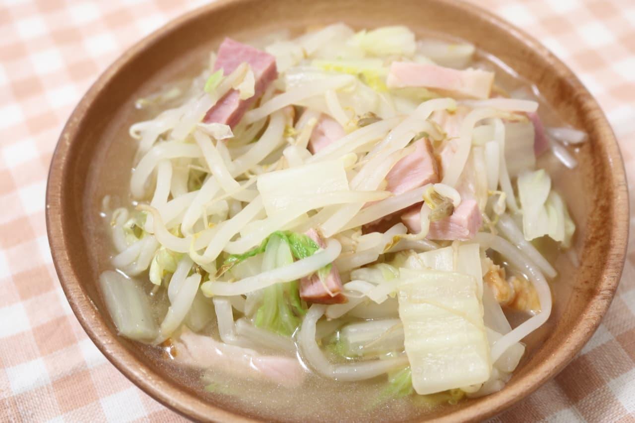 レシピ「もやしと白菜のスープ」