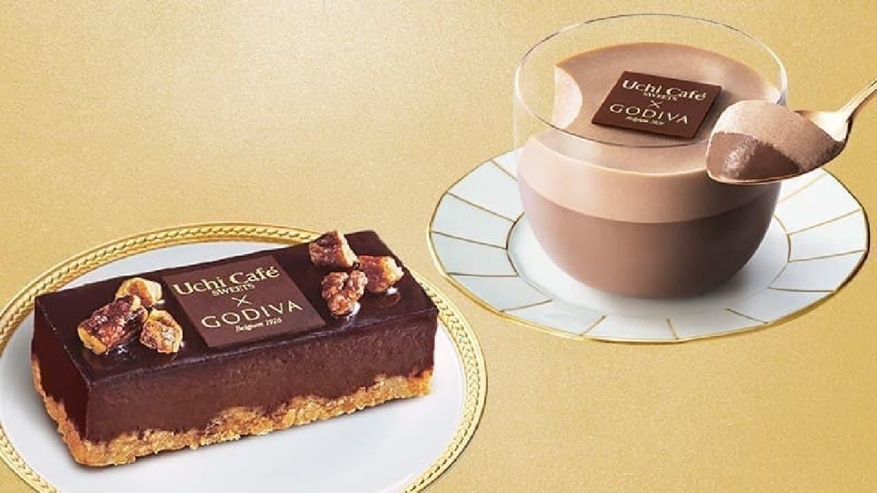 ローソン「Uchi Cafe×GODIVA ダブルショコラプリン」と「Uchi Cafe×GODIVA ショコラケーキ」