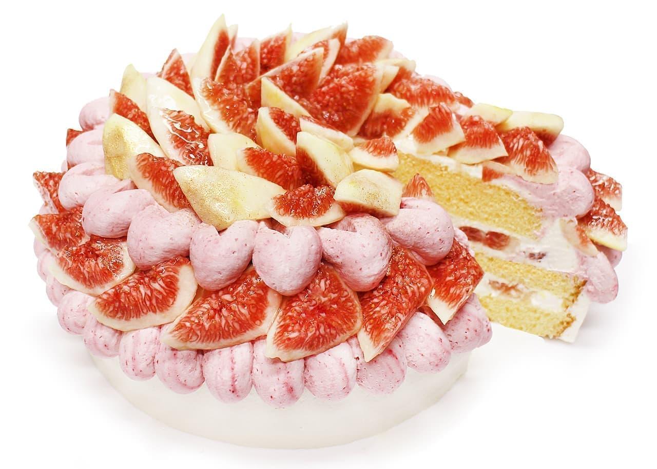 カフェコムサ守口京阪店オープン記念「いちじくとラズベリークリームのショートケーキ」