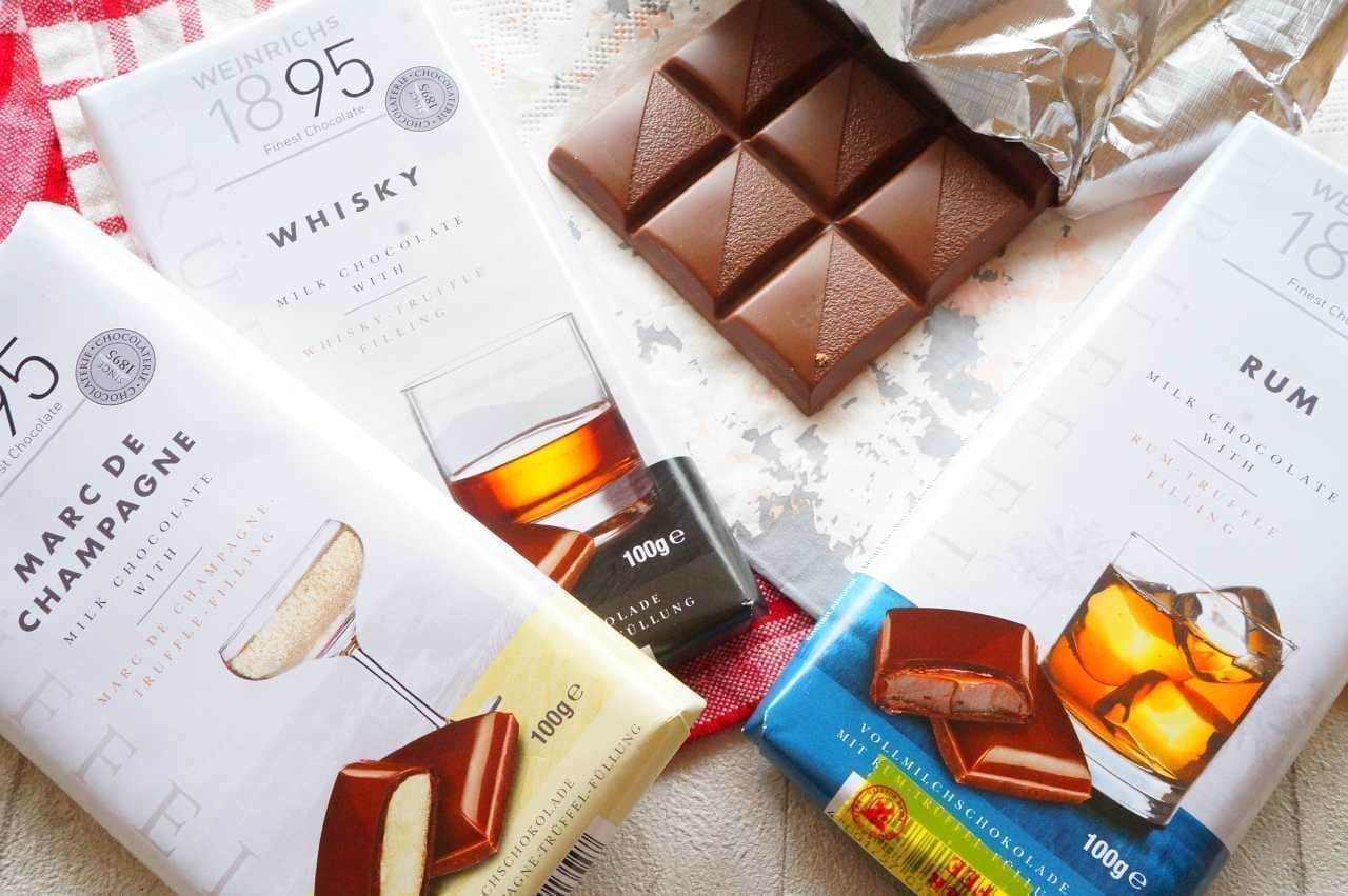 「ワインリッヒ ラム チョコレート」「ワインリッヒ ウイスキー チョコレート」「ワインリッヒ マールドシャンパーニュ チョコレート」