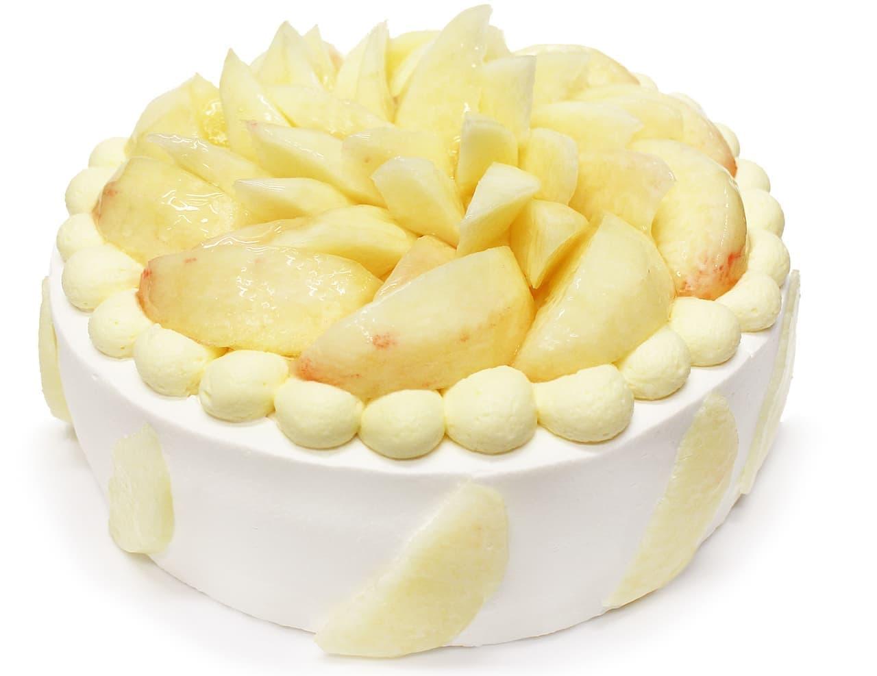 カフェコムサ「桃とカスタードクリームのショートケーキ」
