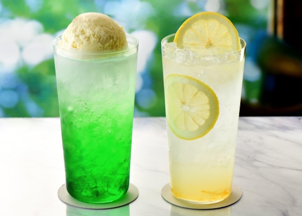 カフェ・ド・クリエ「メロンクリームフロート」&「レモンスカッシュ」