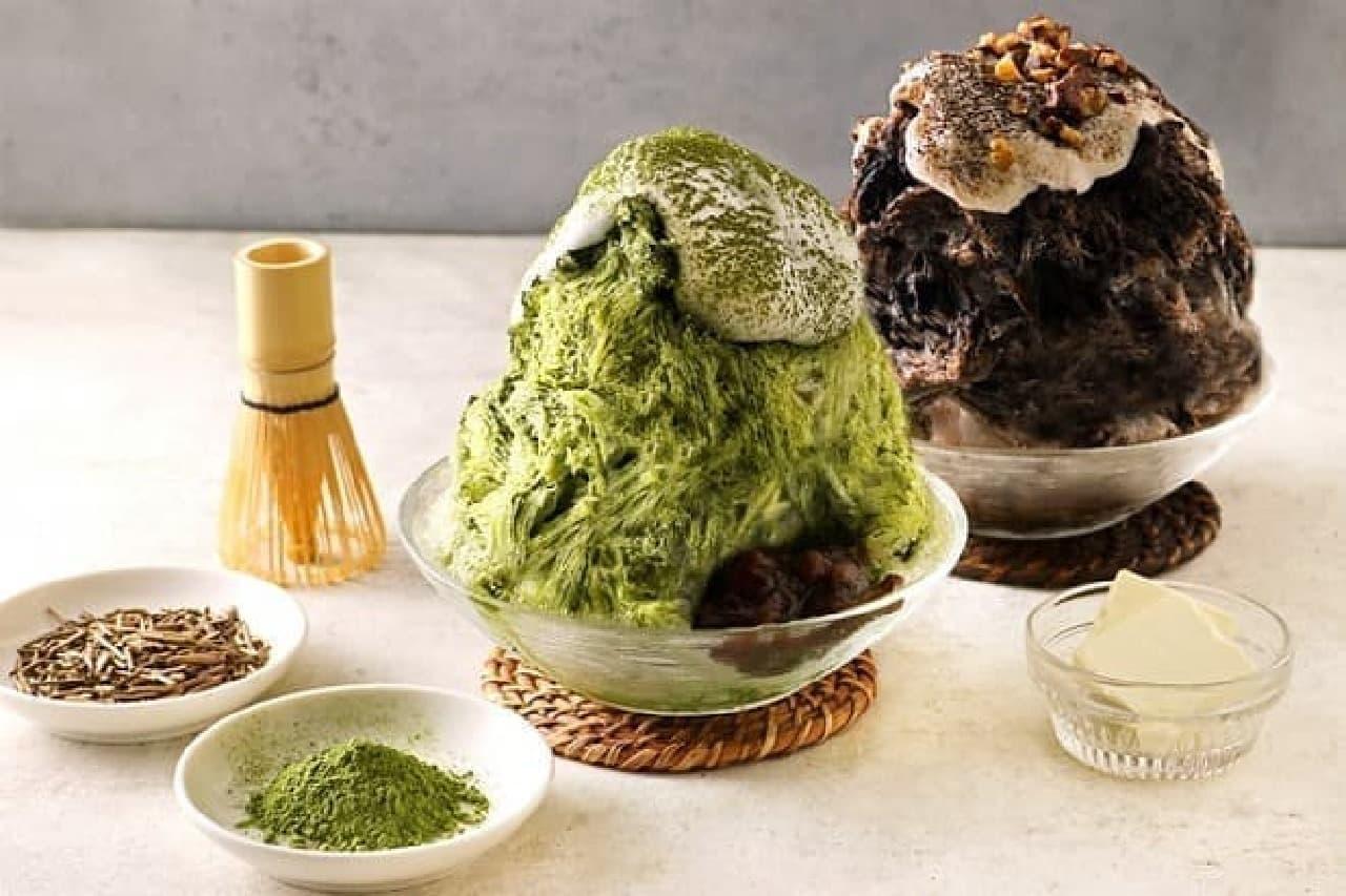 こなな「チーズクリームの抹茶かき氷」と「チーズクリームのほうじ茶かき氷」