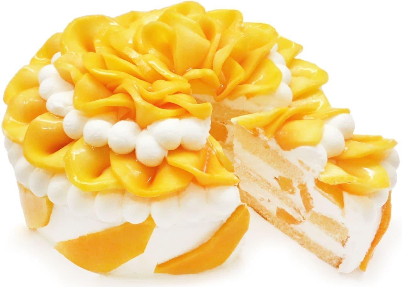 カフェコムサ「沖縄県産『完熟マンゴー』のショートケーキ」