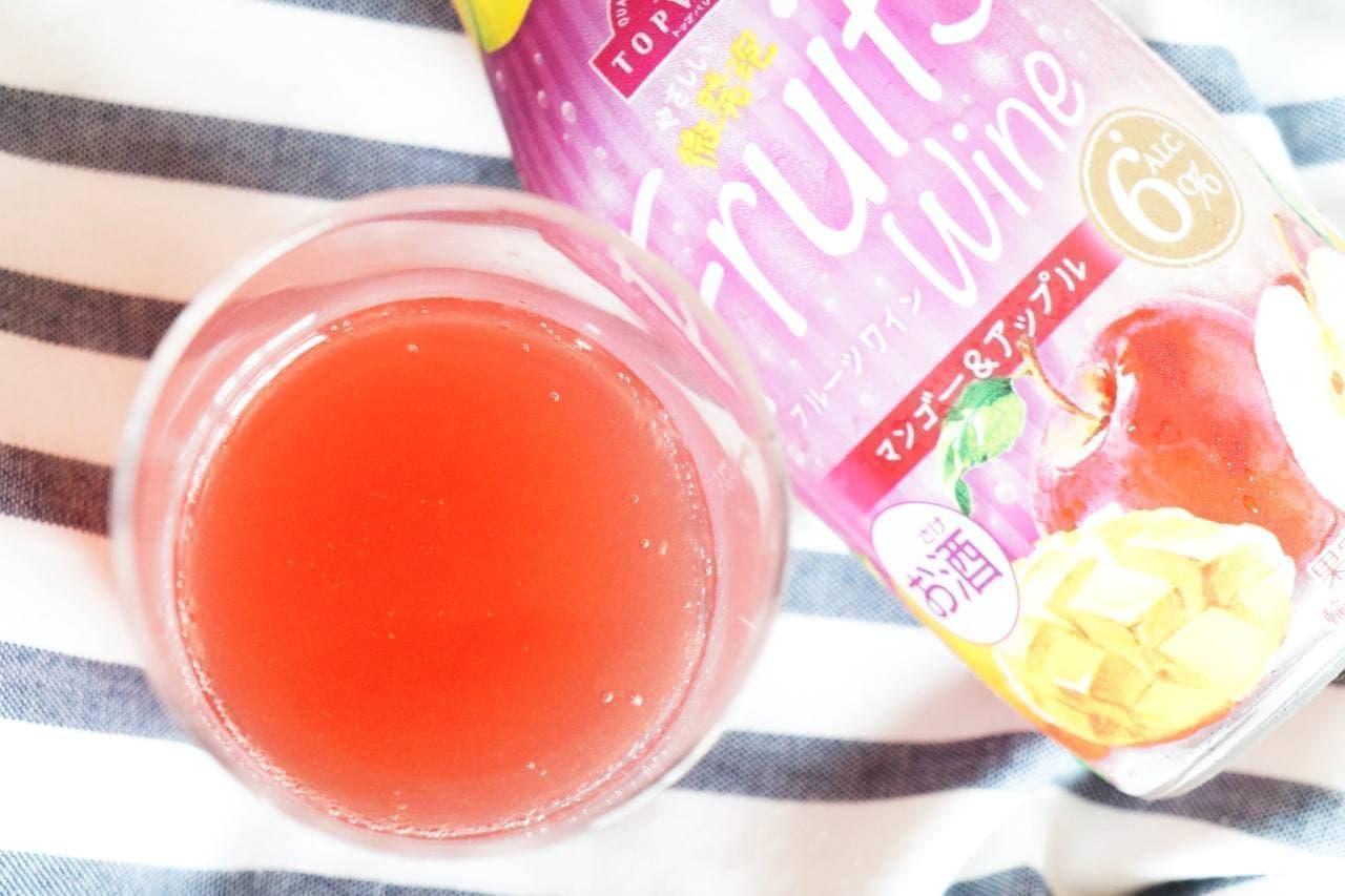 イオントップバリュ「やさしい微発泡 フルーツワイン」の「マンゴー&アップル」