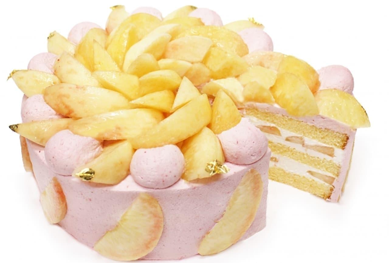 カフェコムサ「桃とラズベリークリームのショートケーキ」