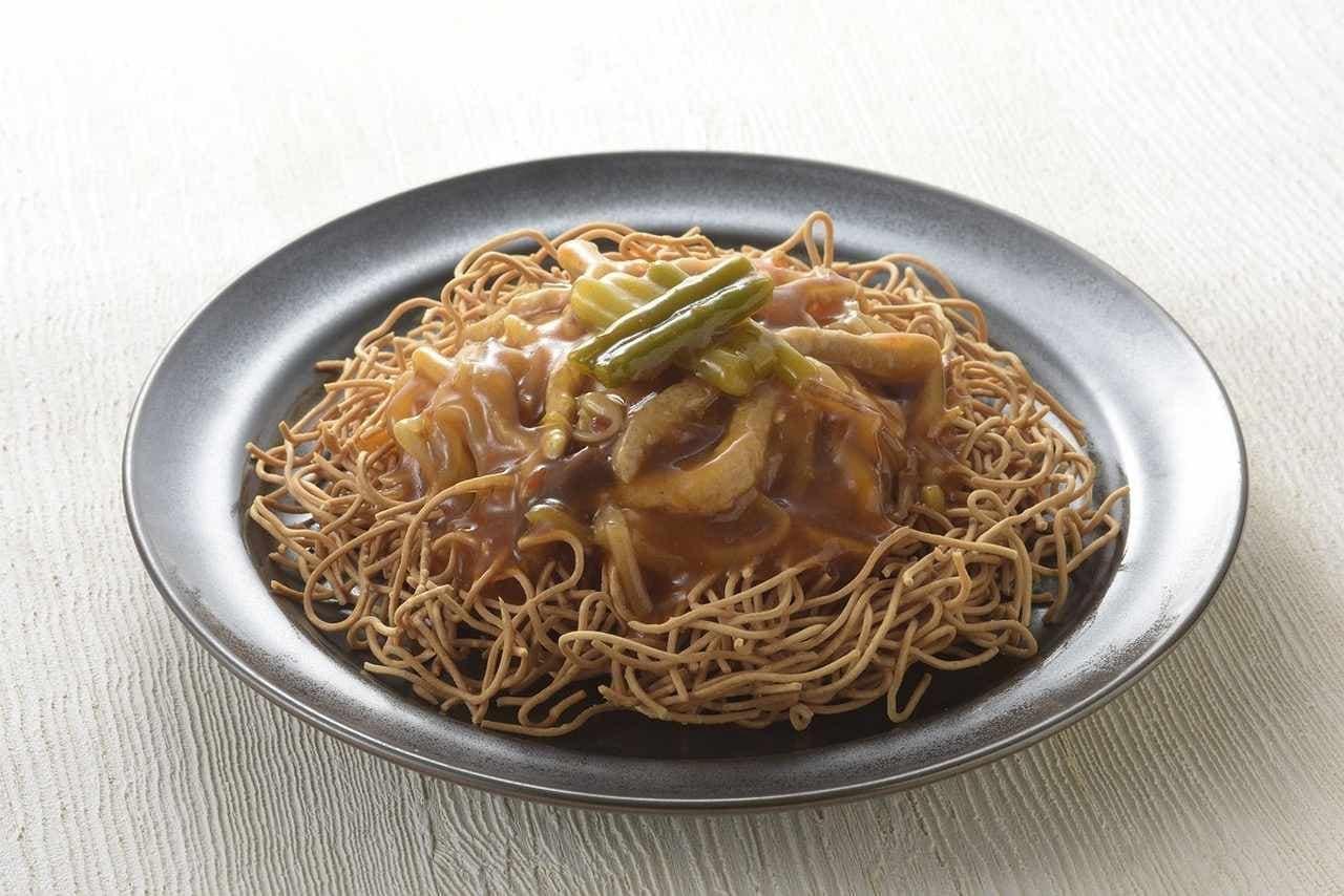 ローソン「重慶飯店監修 黒酢でさっぱり!ピリ辛あんかけのパリパリ麺」