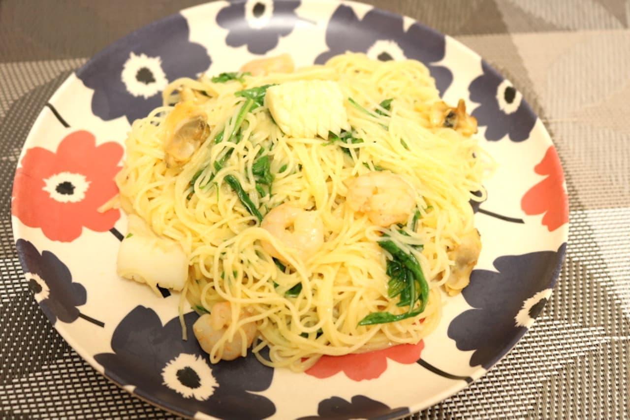レシピ「シーフードと水菜のコチュジャンパスタ」