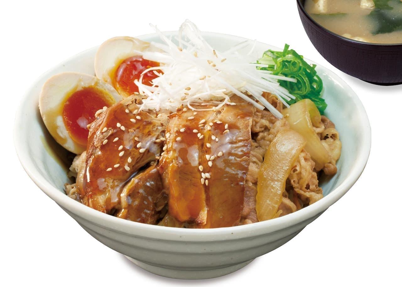 松屋「牛と味玉の豚角煮丼」